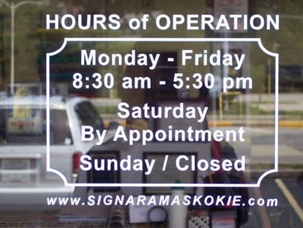 Vinyl window hours signs n frames for Hours of operation template microsoft word